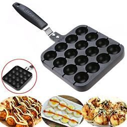 16 Holes Takoyaki Grill Pan Plate Cooking Baking Mold Octopu