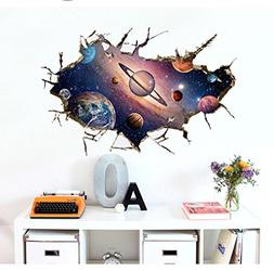 BIBITIME 3D Universe Planet Wall Decal Outer Space Break Thr