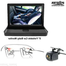 "5"" Foldable Car Baby Monitor HD Rear Mirror Camera 4PIN 720P"