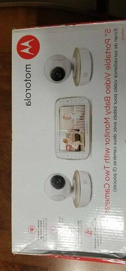"""Motorola 5"""" Video Baby Monitor with Two Cameras - White"""