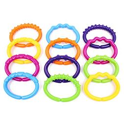 Colorful Baby Links Rings Theether Rattle Infant Strollers C