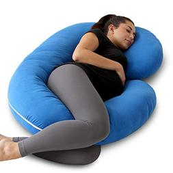 PharMeDoc Pregnancy Pillow with Blue Jersey Cover, C Shaped