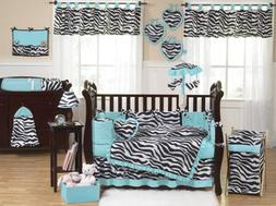 Sweet Jojo Designs Turquoise Blue and Funky Zebra Animal Pri