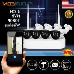 FLOUREON Wireless 4CH 1080P WIFI NVR Outdoor Security IP Cam