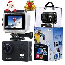 "Action Camera, Wewdigi 2.0"" LCD Screen 4K WiFi Ultra HD Wate"
