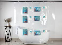 Clear Shower Curtain Liner With 12 Touch Pockets For iPad Ph