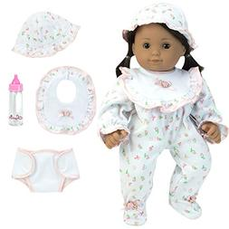Sophia's Complete Gift Set of 15 Inch Baby Doll PJ's and 4 M