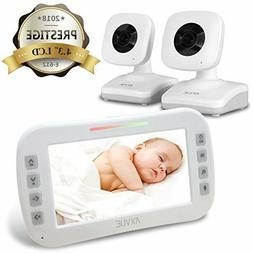 "Axvue E612 Video Baby Monitor, 4.3"" LCD Screen and 2 Camera,"