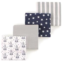 Hudson Baby Flannel Receiving Blankets, Outer Space