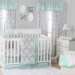 Grey Damask and Mint Green 3 Piece Baby Crib Bedding Set by