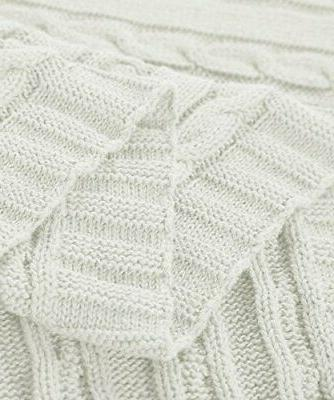 "NTBAY Cotton Knit Throw Blanket Soft Warm 67"","