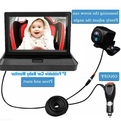 "5"" Foldable Car Monitor HD Rear Camera 4PIN Plug&Play Universal"