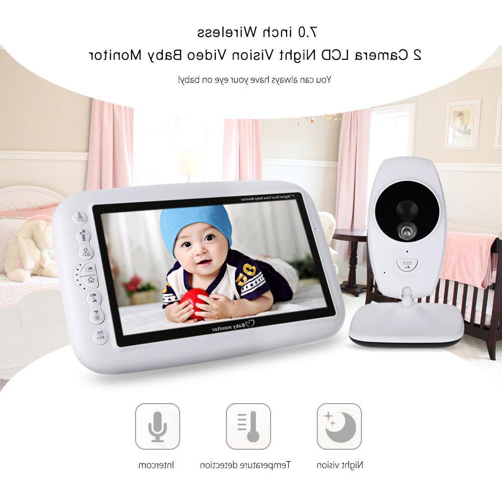"""7.0"""" Wireless Baby Monitor IP 2 Cameras Electric LCD Night V"""