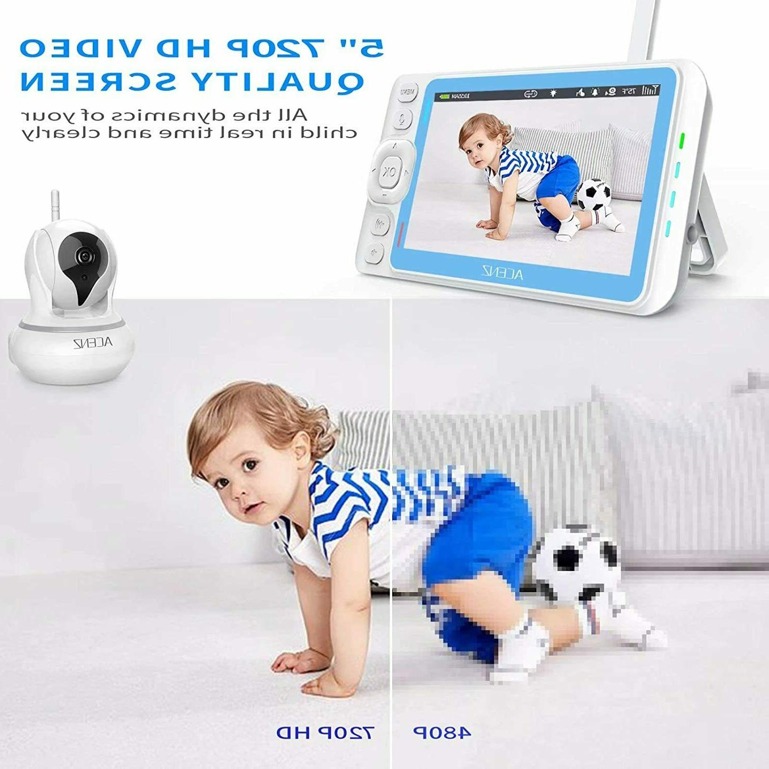 Baby Monitor with and with 5 Inches Display Two-Way