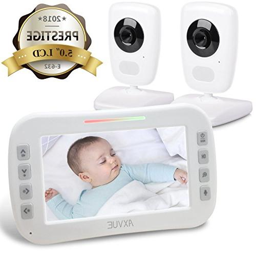 "AXVUE Baby Monitor and 5"" Vision, Temperature Power Saving On/Off, Expandable Cam"