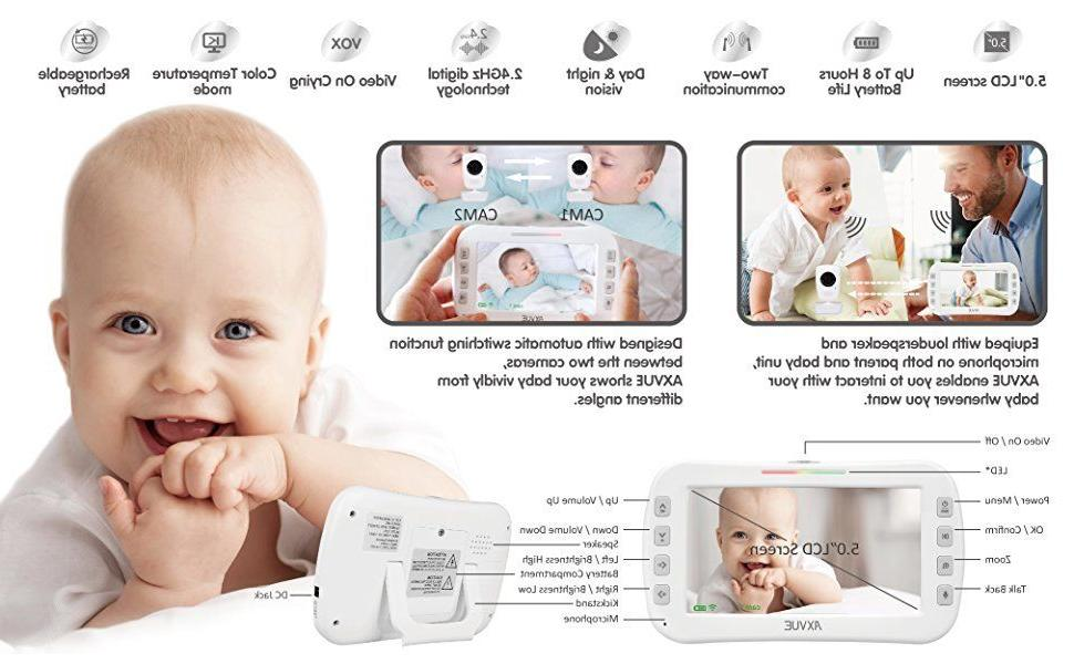 """Axvue Baby Monitor, 5"""" LCD and 2 UNIT"""