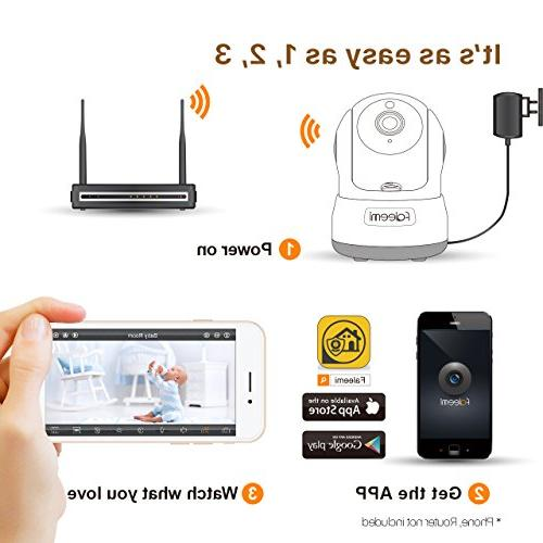 Faleemi HD WiFi Camera, Camera Audio, Night Card Slot/Plug/Play for Baby/Elder/Pet/Nanny/Garage/Office FSC776W