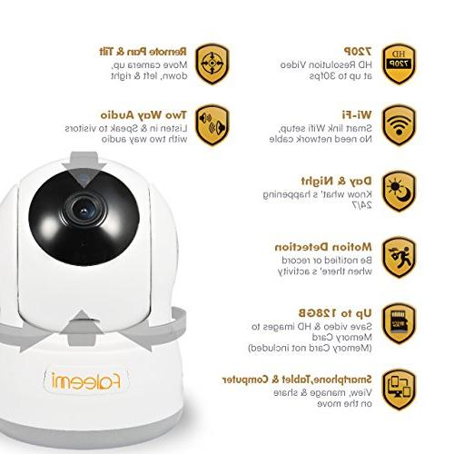 Faleemi WiFi Camera with Audio, Night Slot/Plug/Play for Monitor FSC776W