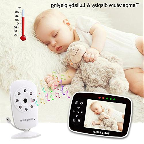 """Baby Monitor, Video Baby Monitor 3.5"""" Screen, Camera and Night Vision,Support Way Sensor,Built-in Lullabies"""