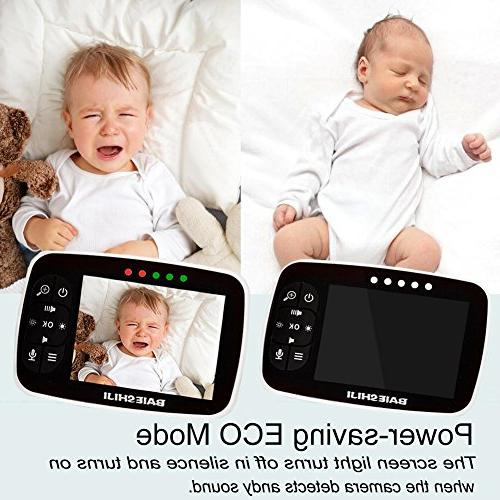 """Baby Video Monitor 3.5"""" Large LCD Screen, Camera and Audio Vision,Support Camera,ECO Mode,Two Way Talk Lullabies"""