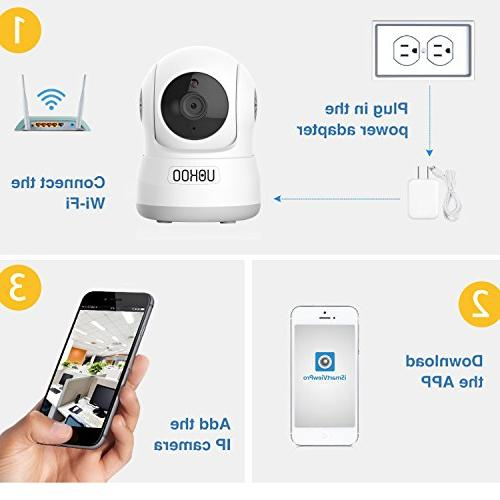 Wireless Security UOKOO 720P Home WiFi Wireless IP Security Surveillance Camera with Detection Audio and Baby Monitor,