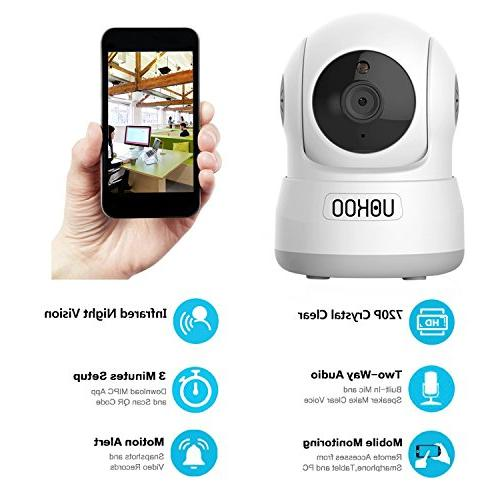 Wireless Security Camera, 720P HD Wireless Camera System with Detection Pan/Tilt, Audio Baby Monitor, Nanny Cam