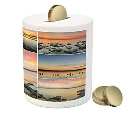 Landscape Coin Box Bank by Ambesonne, Sunset Panorama Sun Ra