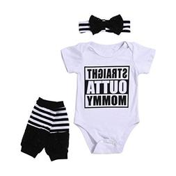 Vovotrade 3PCS Outfit Set Newborn Infant Baby Girl Clothes R