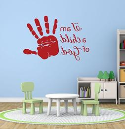 Religious Wall Decals - I Am a Child of God - Handprint, Chr