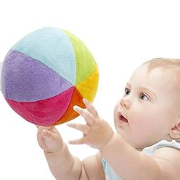 SHILOH Soft Plush Stuffed Rainbow Ball with Gentle Rattle -