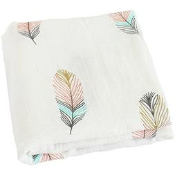 "Swaddle Blankets Muslin - ""Feather Print"" Bamboo Cotton Baby"