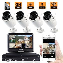 "US 4CH HD WiFi Security Camera with 10"" LCD Screen Display M"