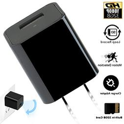 CAMXSW HD 1080P USB Wall Charger Camera, iPhone and Android