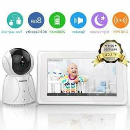 BIGASUO Video Baby Monitor 7-inch Large Color LCD Screen Cam