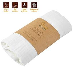 White Baby Swaddle Blanket - Wrap Baby Crib Muslin - Soft Co