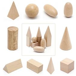 Wooden Geometric Solids 3-D Shapes Learning Resources Cognit
