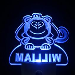 ws1008-tm Monkey Personalized Night Light Baby Kids Name Day